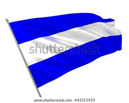 3d illustration of international maritime signal flag meaning J letter or Juliet / Naval signal flags collection - stock photo