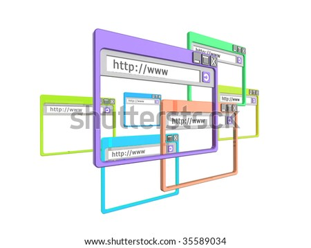3d Illustration of internet browser windows, isolated on a white background. Part of a series of browser window, and internet concept images.