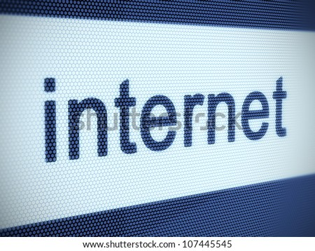 3d illustration of internet text on screen. Shallow Depth of Field - stock photo