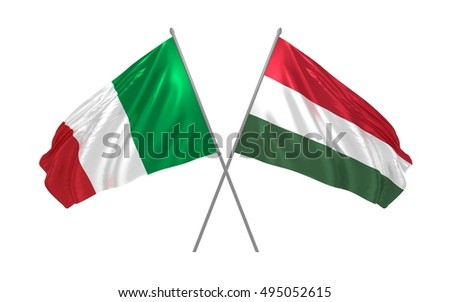3d illustration of Italy and Hungary flags waving