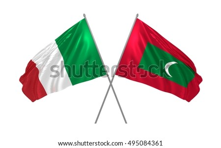 3d illustration of Italy and Maldives flags waving