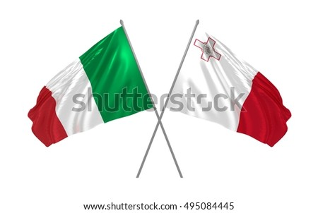 3d illustration of Italy and Malta flags waving