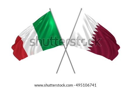3d illustration of Italy and Qatar flags waving