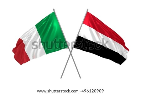 3d illustration of Italy and Yemen flags waving