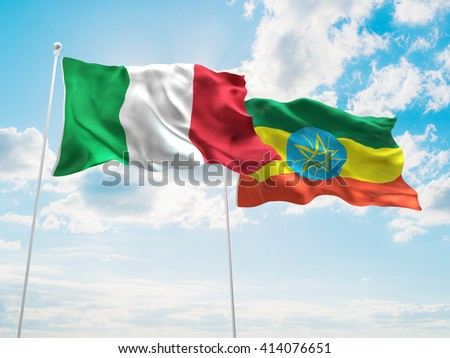 3D illustration of Italy & Ethiopia Flags are waving in the sky - stock photo