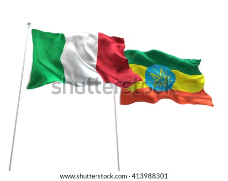 3D illustration of Italy & Ethiopia Flags are waving on the isolated white background - stock photo