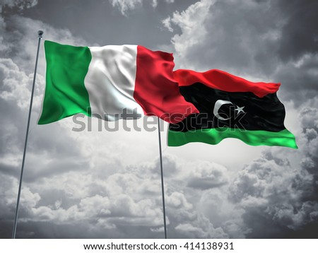 3D illustration of Italy & Libya Flags are waving in the sky with dark clouds  - stock photo