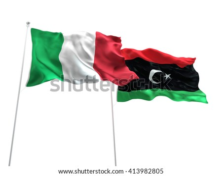 3D illustration of Italy & Libya Flags are waving on the isolated white background - stock photo