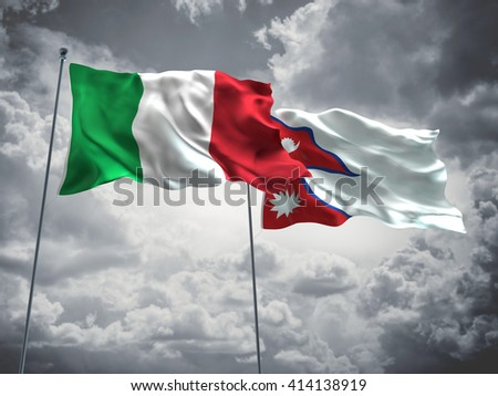 3D illustration of Italy & Nepal Flags are waving in the sky with dark clouds  - stock photo