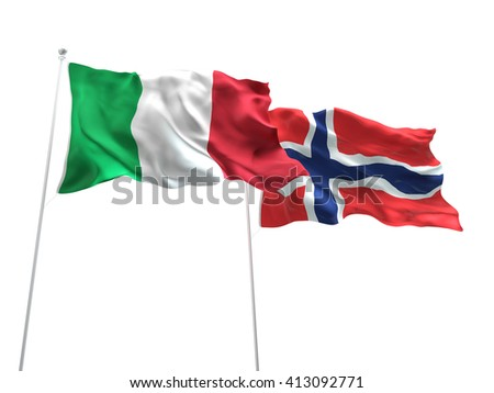 3D illustration of Italy & Norway Flags are waving on the isolated white background - stock photo