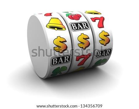 3d illustration of jackpot symbol over white background - stock photo
