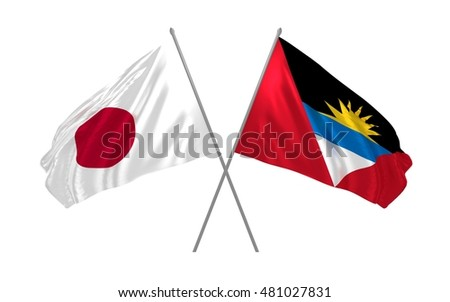 3d illustration of Japan and Antigua and Barbuda flags waving
