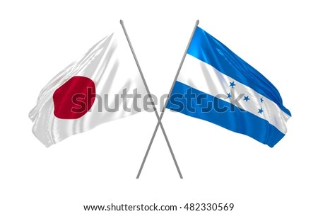 3d illustration of Japan and Honduras flags waving
