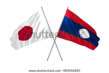 3d illustration of Japan and Laos flags waving