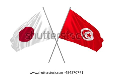 3d illustration of Japan and Tunisia flags waving
