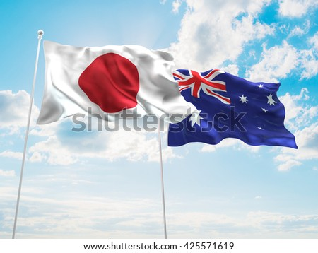 3D illustration of Japan & Australia Flags are waving in the sky - stock photo