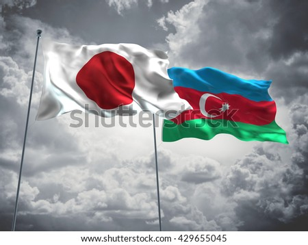 3D illustration of Japan & Azerbaijan Flags are waving in the sky with dark clouds  - stock photo