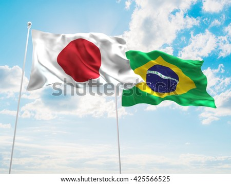 3D illustration of Japan & Brazil Flags are waving in the sky - stock photo