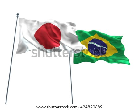 3D illustration of Japan & Brazil Flags are waving on the isolated white background - stock photo