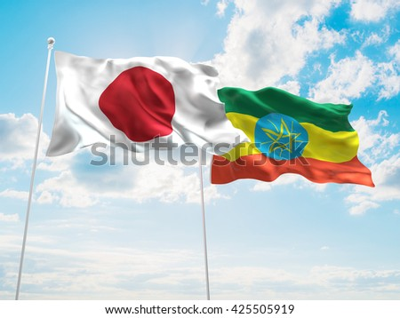 3D illustration of Japan & Ethiopia Flags are waving in the sky - stock photo