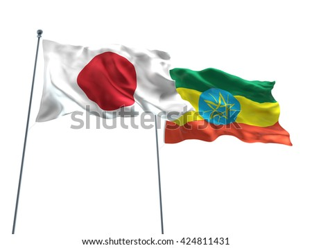 3D illustration of Japan & Ethiopia Flags are waving on the isolated white background - stock photo