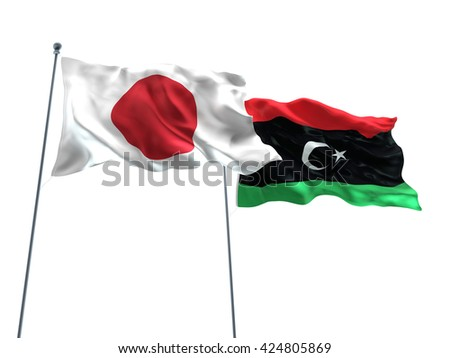 3D illustration of Japan & Libya Flags are waving on the isolated white background - stock photo