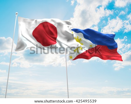 3D illustration of Japan & Philippines Flags are waving in the sky - stock photo