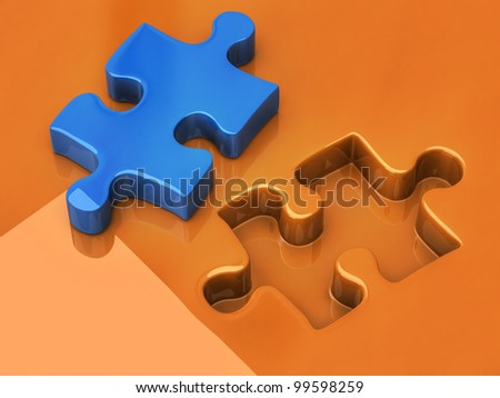 3d illustration of jigsaw puzzle - stock photo
