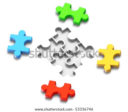3D Illustration of jigsaw puzzle pieces and their respective spots to be filled