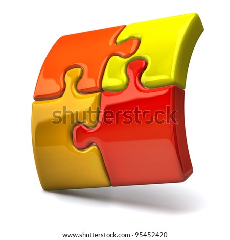 3d illustration of jigsaw puzzles - stock photo