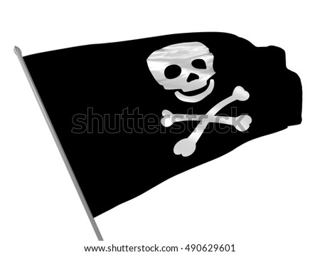 3d illustration of Jolly Roger flag waving in the wind