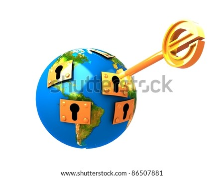 3d illustration of key and planet - stock photo