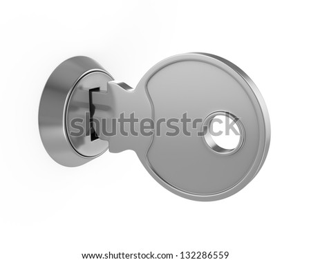 3d illustration of key in key-hole, isolated over white background