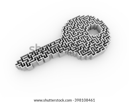 3d illustration of key shape labyrinth puzzle maze - stock photo