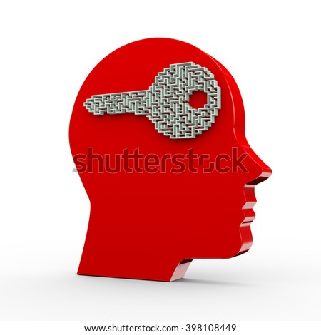 3d illustration of key shape labyrinth puzzle maze and red human head - stock photo