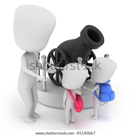 3D Illustration of Kids Looking at a Museum Display