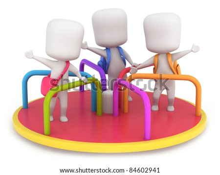 3D Illustration of Kids Playing in a Merry Go Round - stock photo