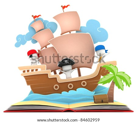 3D Illustration of Kids Playing in a Pirate Ship on a Popup Book - stock photo