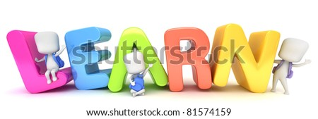 3D Illustration of Kids Posing with the Word Learn - stock photo