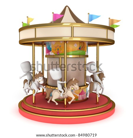 3D Illustration of Kids Riding a Carousel - stock photo