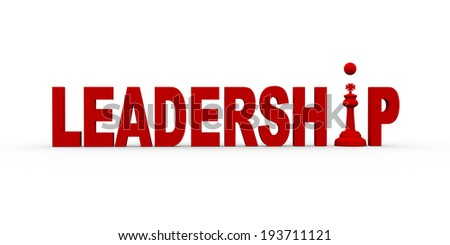 3d illustration of kind chess piece between word leadership. - stock photo