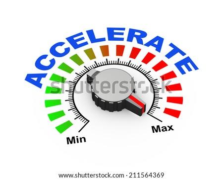3d illustration of knob set at maximum for accelerate - stock photo