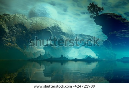 3D Illustration of landscape with fancy concept which is observed large rock formations and one isolated tree highlighted on calm waters in a very cloudy atmosphere