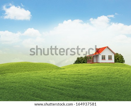 3d illustration of landscape with lawn with house and bushes - stock photo
