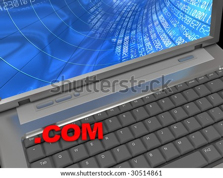 3d illustration of laptop and text 'com' on keyboard, internet concpt - stock photo