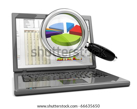 3d illustration of laptop computer and business graph on screen - stock photo