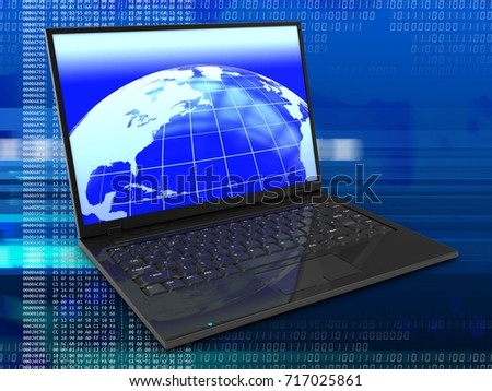 3d illustration of laptop computer over digital background with earth screen