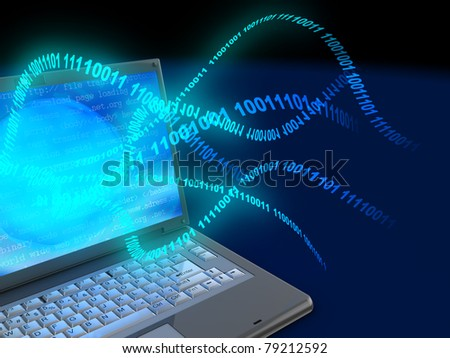 3d illustration of laptop computer with binary code stream - stock photo