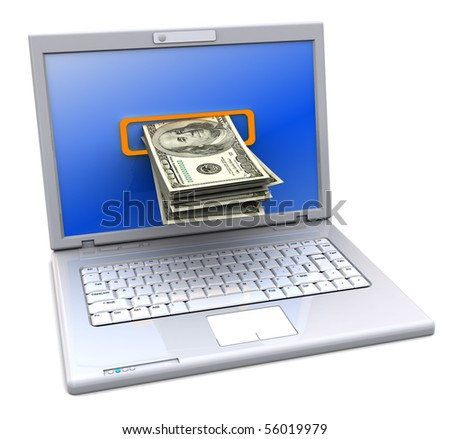 3d illustration of laptop computer with money inside screen - stock photo