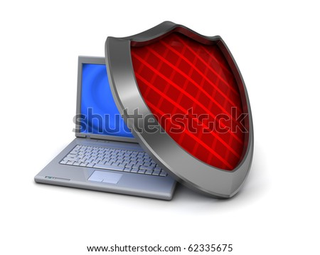 3d illustration of laptop computer with shield, information security concept - stock photo